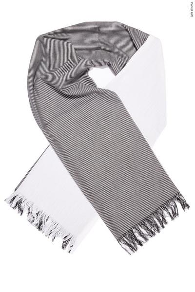 Grey and White Stripe Cotton Scarf